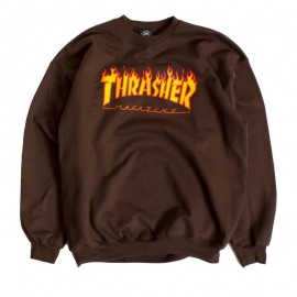 Sudadera THRASHER 'Flame' chocolate